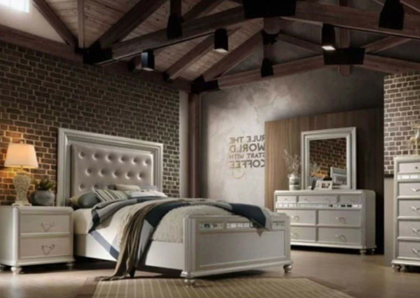 Regency King Size Bedroom Set with Silver Finish | Home Furniture Plus Bedding