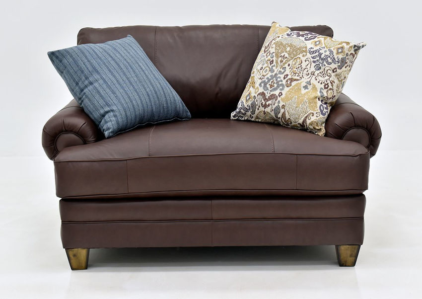 Brown Leather Monaco Chair by Franklin Furniture Showing the Front View Made in the USA | Home Furniture Plus Bedding