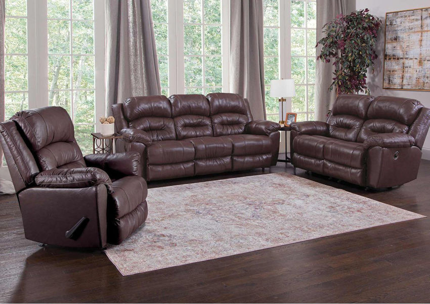 Brown Bellamy Leather Reclining Sofa Set by Franklin Furniture, Showing the Room View, Made in the USA | Home Furniture Plus Bedding