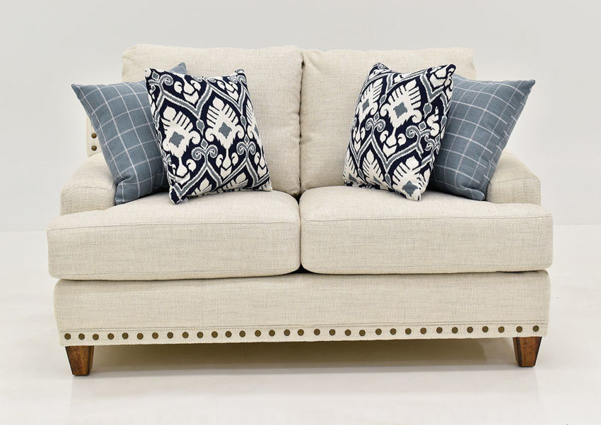Off White Brynwood Loveseat by Franklin Furniture, Showing the Front View, Made in the USA | Home Furniture Plus Bedding