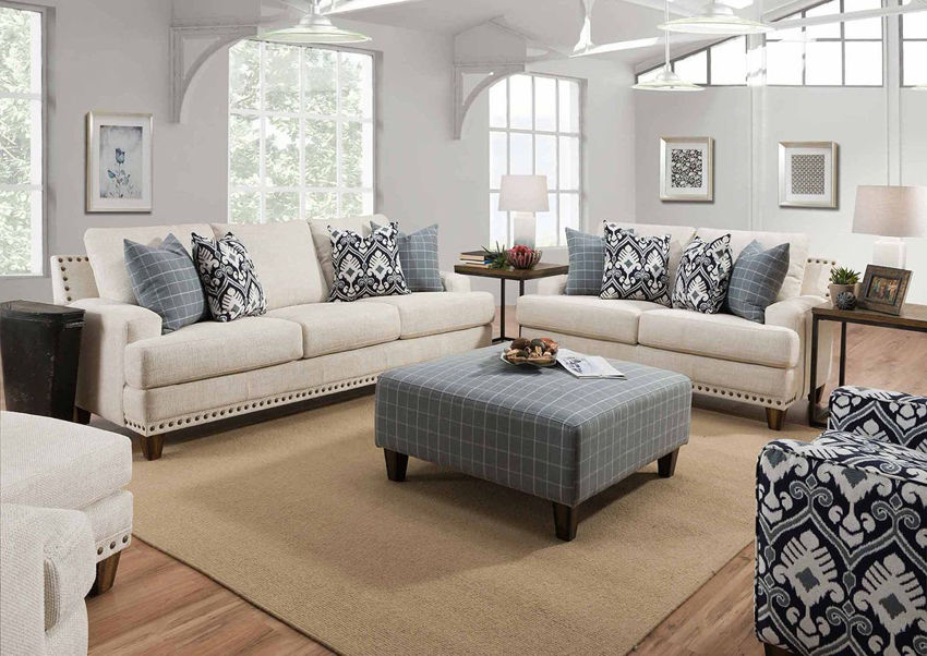Off White Brynwood Sofa Set by Franklin Furniture, Showing the Room View, Made in the USA | Home Furniture Plus Bedding