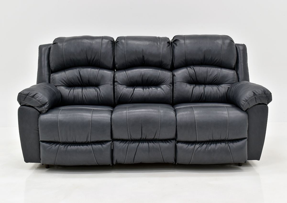 Picture of: Bellamy Leather Reclining Sofa Navy Blue Home Furniture Plus Bedding