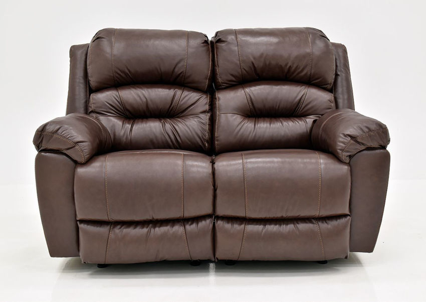 Brown Bellamy Leather Reclining Loveseat by Franklin Furniture, Showing the Front View, Made in the USA | Home Furniture Plus Bedding