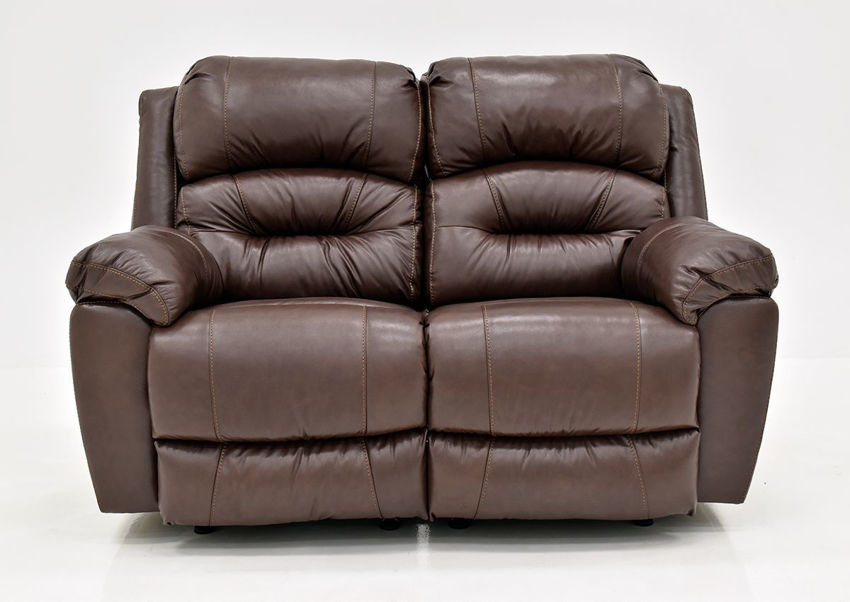 Brown Bellamy POWER Reclining Leather Loveseat by Franklin Furniture, Showing the Front View, Made in the USA | Home Furniture Plus Bedding