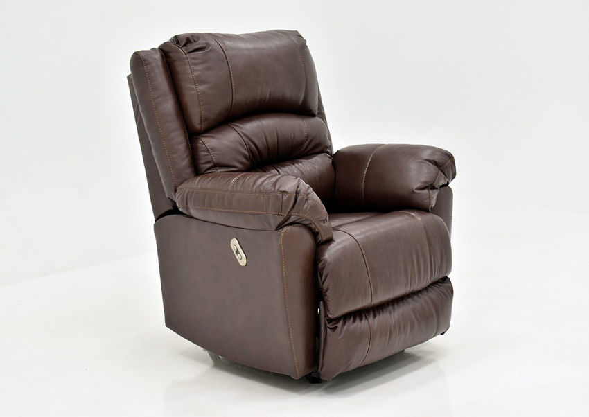 Brown Bellamy POWER Leather Recliner Set by Franklin Furniture, Showing the Angle View, Made in the USA   Home Furniture Plus Bedding