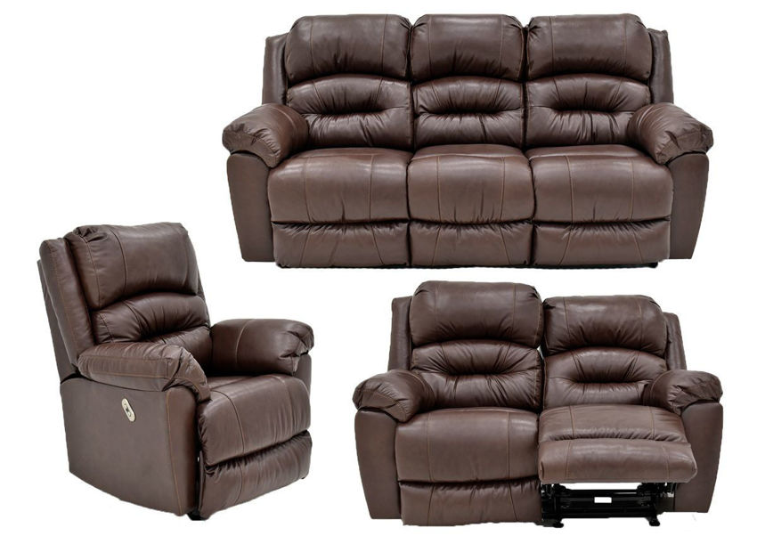 Brown Bellamy POWER Reclining Leather Sofa Set by Franklin Furniture, Showing the Group, Made in the USA | Home Furniture Plus Bedding