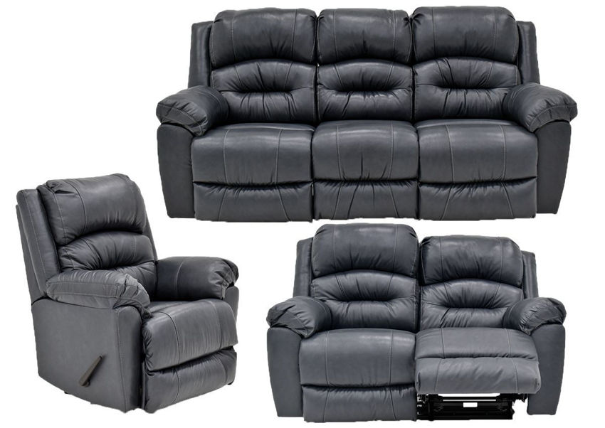Navy Blue Bellamy Leather Reclining Sofa Set by Franklin Furniture, Showing the Group, Made in the USA | Home Furniture Plus Bedding