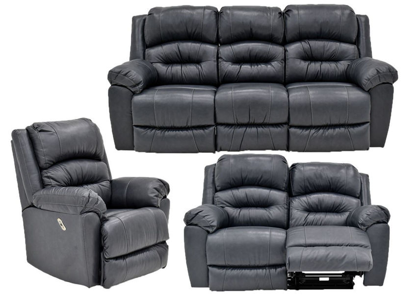 Navy Blue Bellamy POWER Reclining Leather Sofa Set by Franklin Furniture, Showing the Group, Made in the USA | Home Furniture Plus Bedding