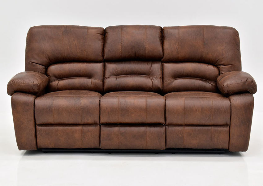Warm Pecan Brown Gallagher Reclining Sofa by Kinsmen East Showing the Front View | Home Furniture Plus Bedding
