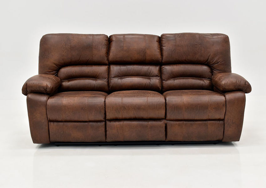 Warm Pecan Brown Gallagher POWER Reclining Sofa by Kinsmen East Showing the Front View | Home Furniture Plus Bedding