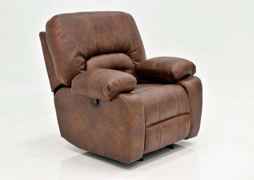 Warm Pecan Brown Gallagher Recliner by Kinsmen East Showing the Angle View | Home Furniture Plus Bedding