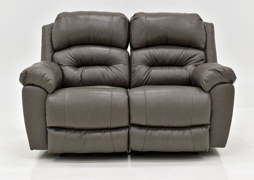 Gray Bellamy Leather Reclining Loveseat by Franklin Furniture, Showing the Front View, Made in the USA | Home Furniture Plus Bedding