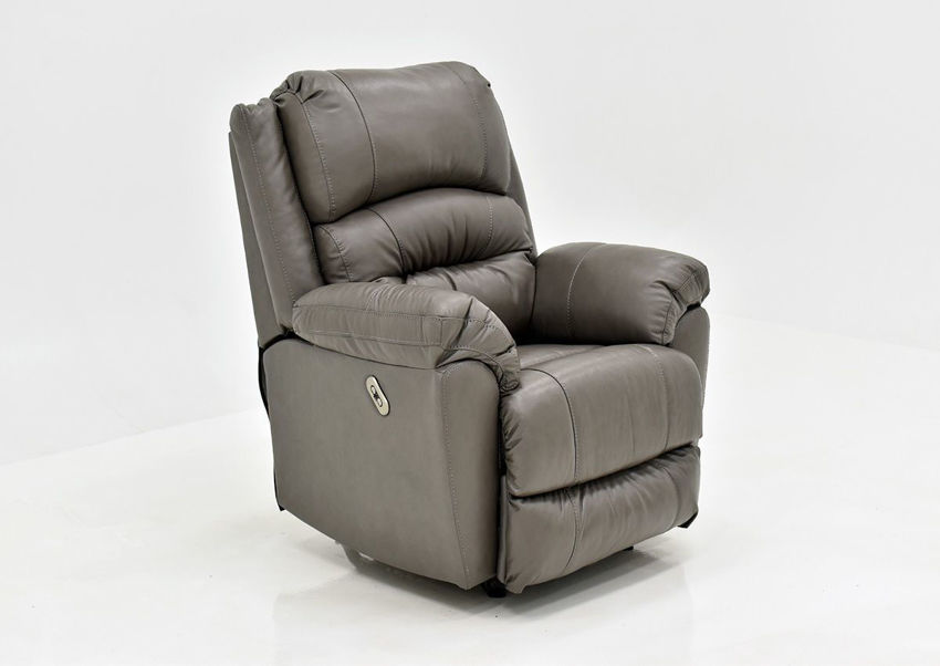 Gray Bellamy POWER Leather Recliner Set by Franklin Furniture, Showing the Angle View, Made in the USA | Home Furniture Plus Bedding