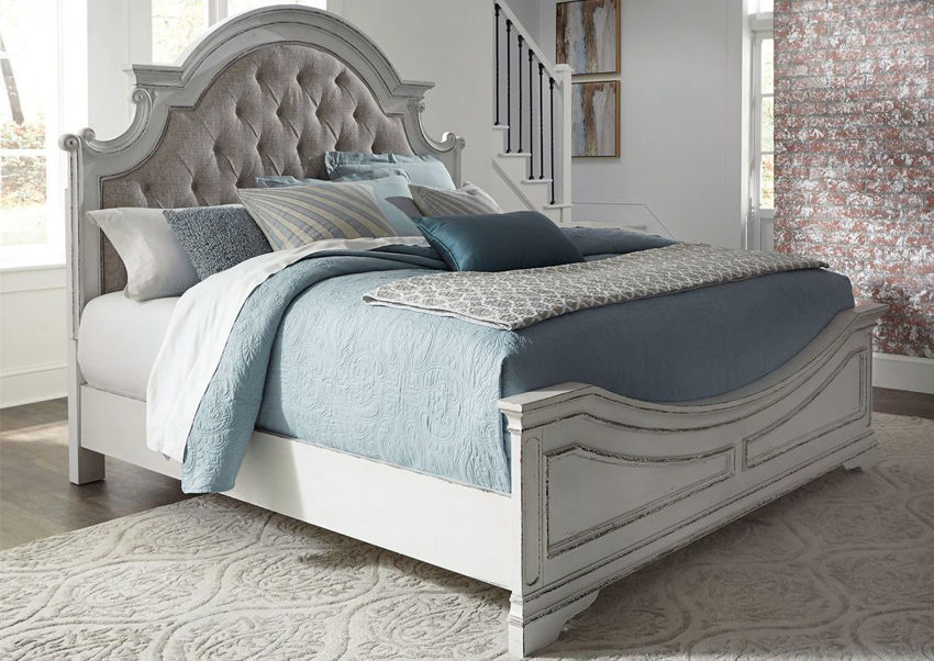 Antique White Magnolia Manor Queen Size Upholstered Bed by Liberty Furniture Showing the Room View | Home Furniture Plus Bedding