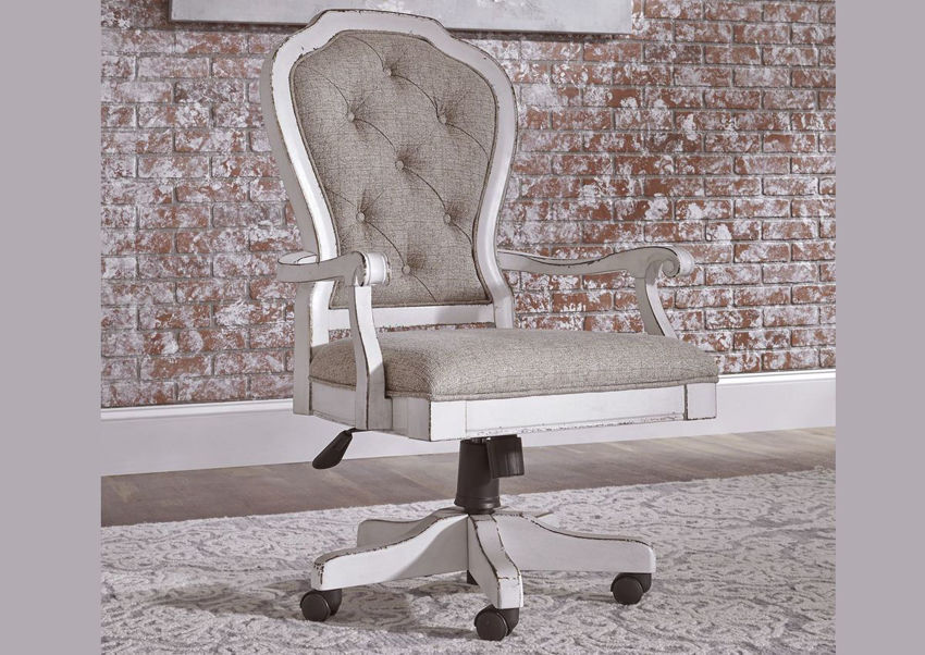 Antique White and Tan Magnolia Manor Jr Executive Desk Chair by Liberty Furniture Showing the Room View | Home Furniture Plus Bedding