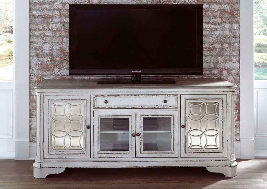 Antique White Magnolia Manor 74 Inch TV Stand by Liberty Furniture, Showing a Room View | Home Furniture Plus Bedding
