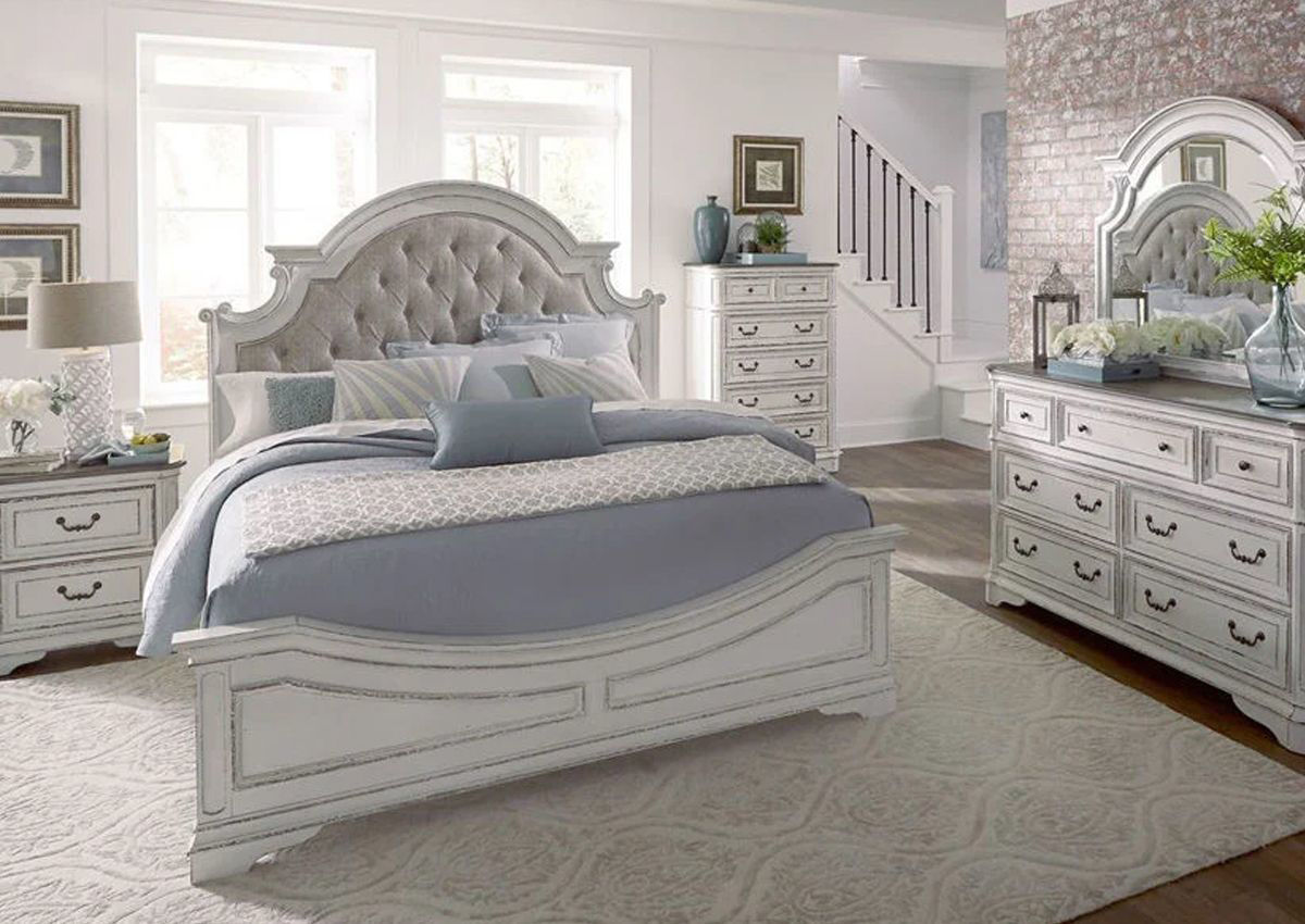 Magnolia Manor Queen Size Upholstered Bedroom Set White Home Furniture Plus Bedding