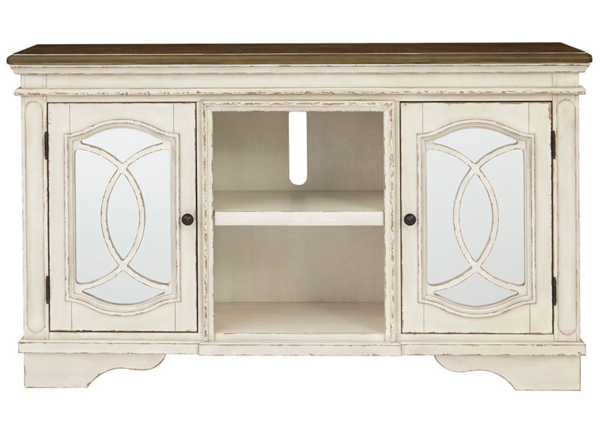 Antique White Realyn 62 Inch TV Stand by Ashley, Showing the Front VIew | Home Furniture Plus Bedding