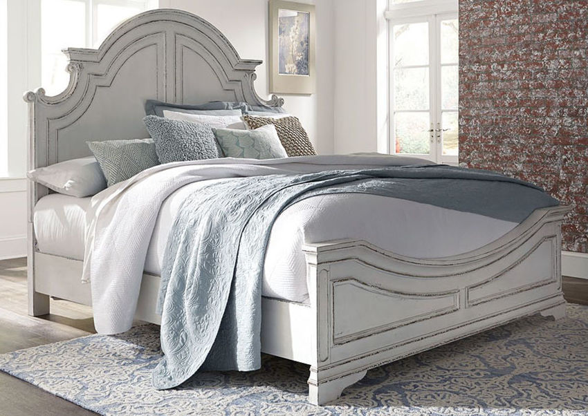 Antique White Magnolia Manor Queen Size Panel Bed by Liberty Furniture Showing the Room View | Home Furniture Plus Bedding