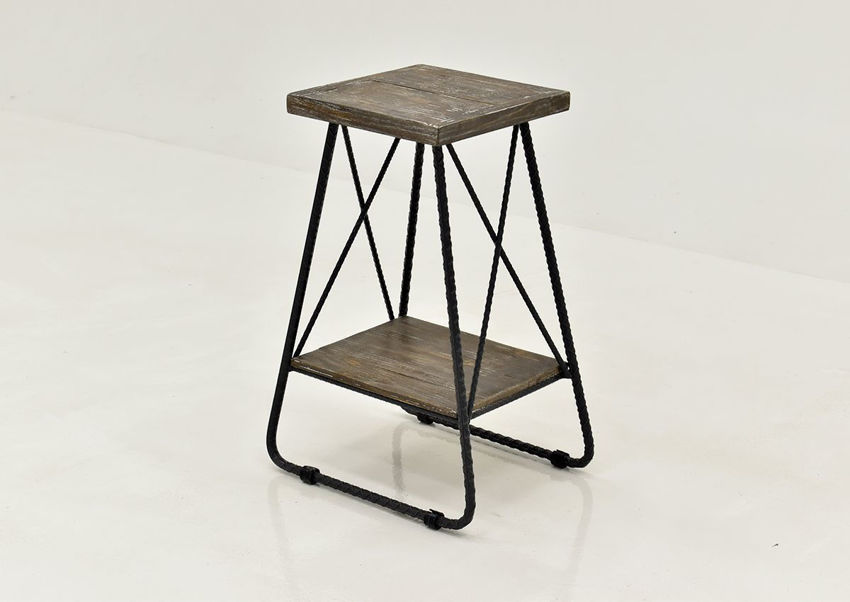Barn Wood Brown Industrial Chairside End by Vintage Furniture, Showing the Angle View | Home Furniture Plus Bedding