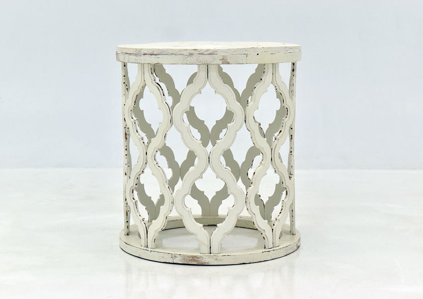 Off White Brocade End Table by Vintage Furniture, Showing the Front View | Home Furniture Plus Bedding
