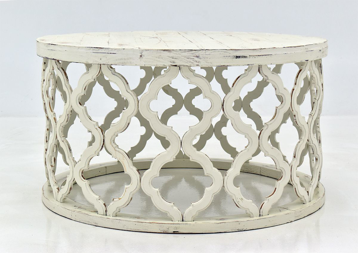 - Brocade Coffee Table - White Home Furniture Plus Bedding
