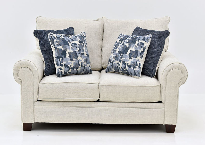 Off White Dante Flax Loveseat by Albany Showing the Front View, Made in the USA | Home Furniture Plus Bedding