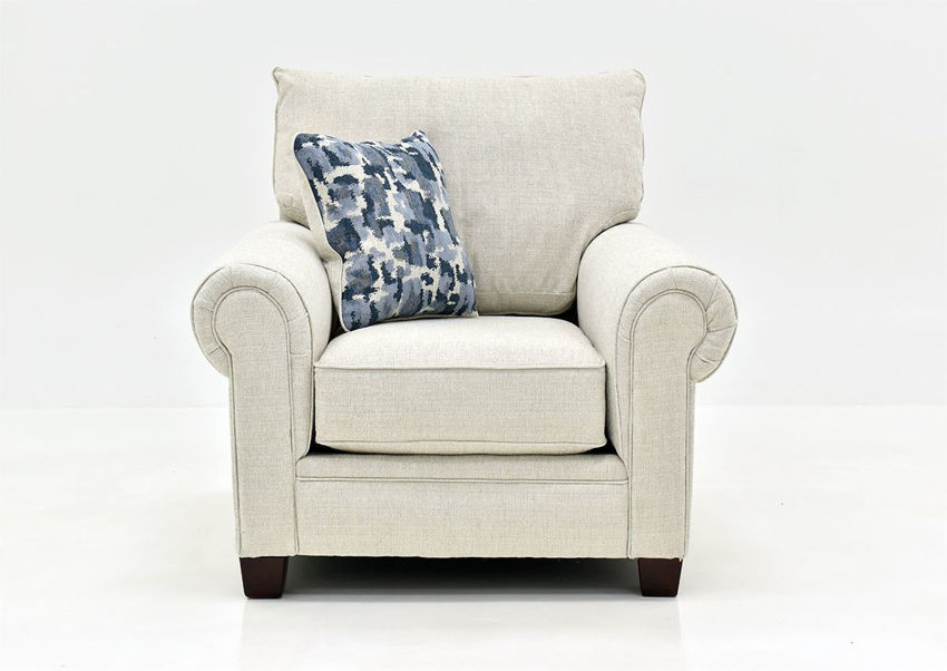 Off White Dante Flax Chair by Albany, Showing the Front View, Made in the USA | Home Furniture Plus Bedding