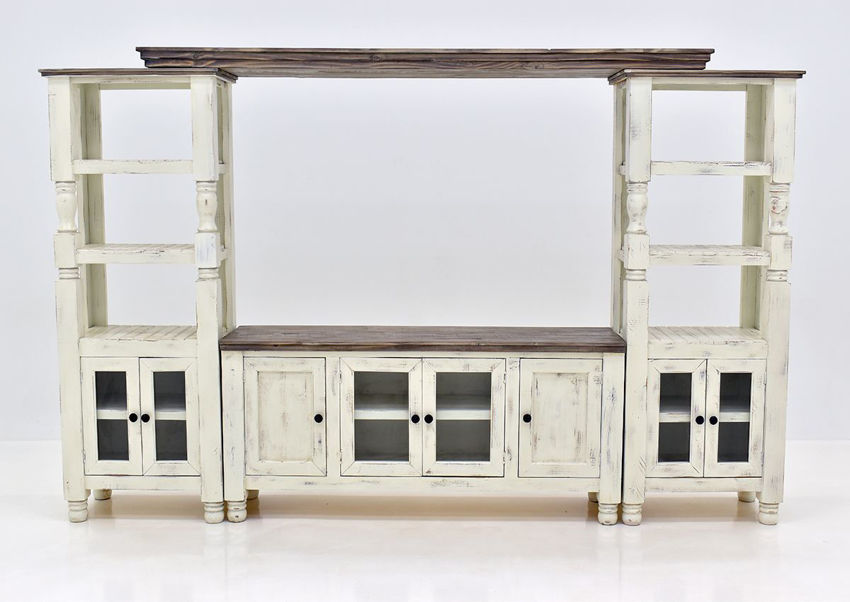 White Martha Entertainment Center by Vintage Furniture Showing the Front View | Home Furniture Plus Bedding