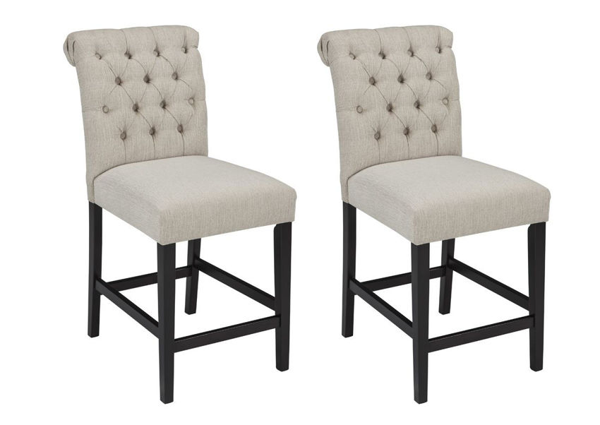 Tripton 24 Inch Off White Upholstered Bar Stool by Ashley Showing the Two Barstools | Home Furniture Plus Bedding