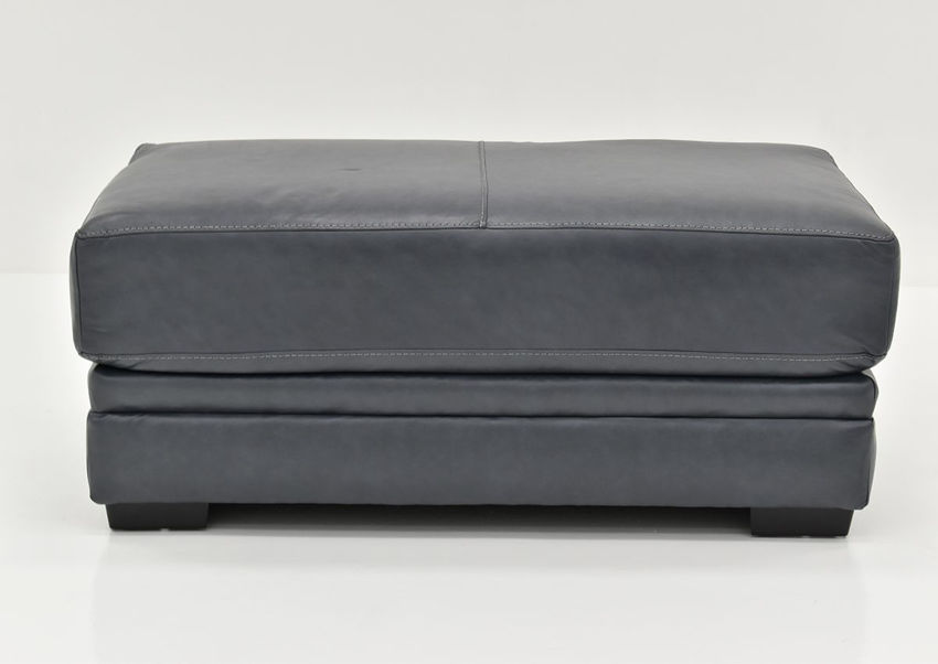 Navy Sedona Leather Ottoman by Franklin Furniture Showing the Front View, Made in the USA | Home Furniture Plus Bedding