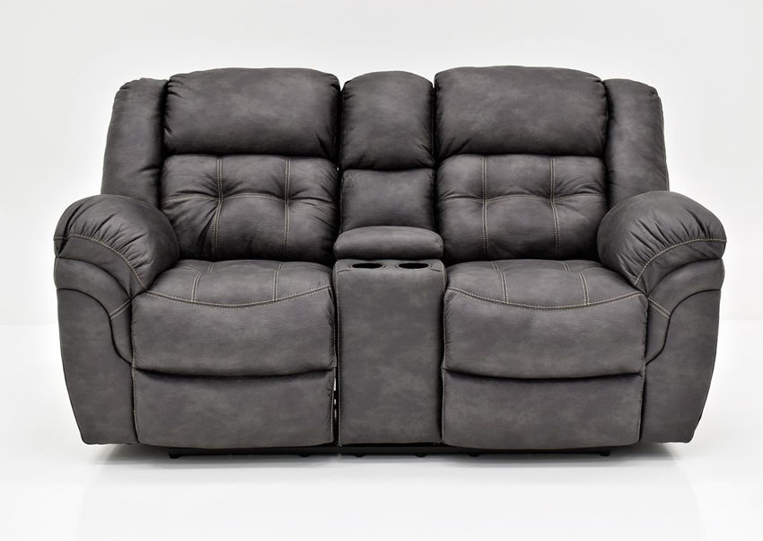 Gray Denton Reclining Loveseat by HomeStretch Showing the Front View Made in the USA | Home Furniture Plus Bedding