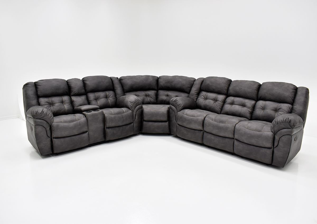 Picture of: Denton Reclining Sectional Sofa Gray Home Furniture Plus Bedding