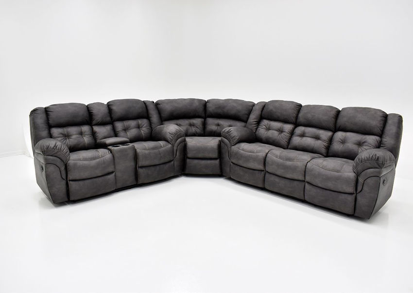 Gray Denton POWER Reclining Sectional Sofa Set by HomeStretch Showing the Front View, Made in the USA | Home Furniture Plus Bedding
