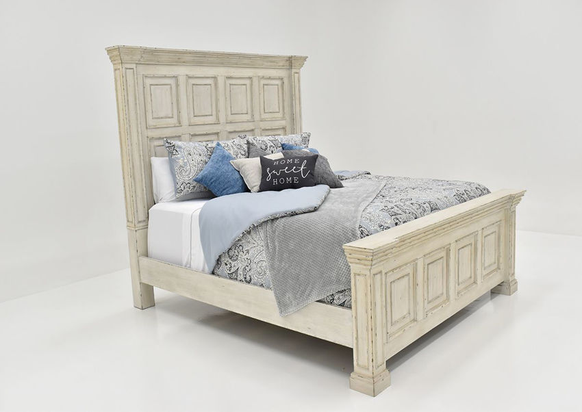 White Big Valley Queen Size Bed by Liberty Furniture Showing the Angle View | Home Furniture Plus Bedding