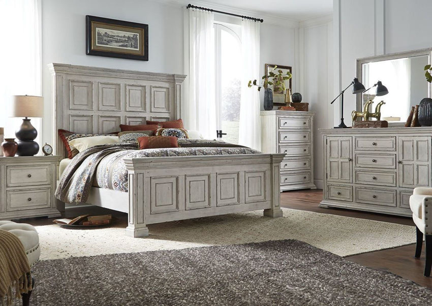 White Big Valley Queen Size Bedroom Set by Liberty Furniture Showing the Room View | Home Furniture Plus Bedding
