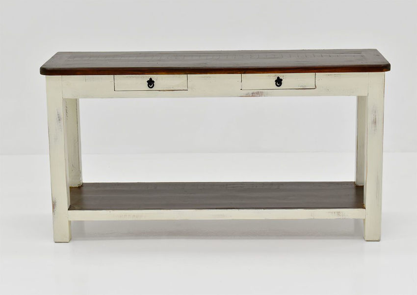White and Brown Cottage Sofa Table by Vintage Showing the Front View | Home Furniture Plus Bedding
