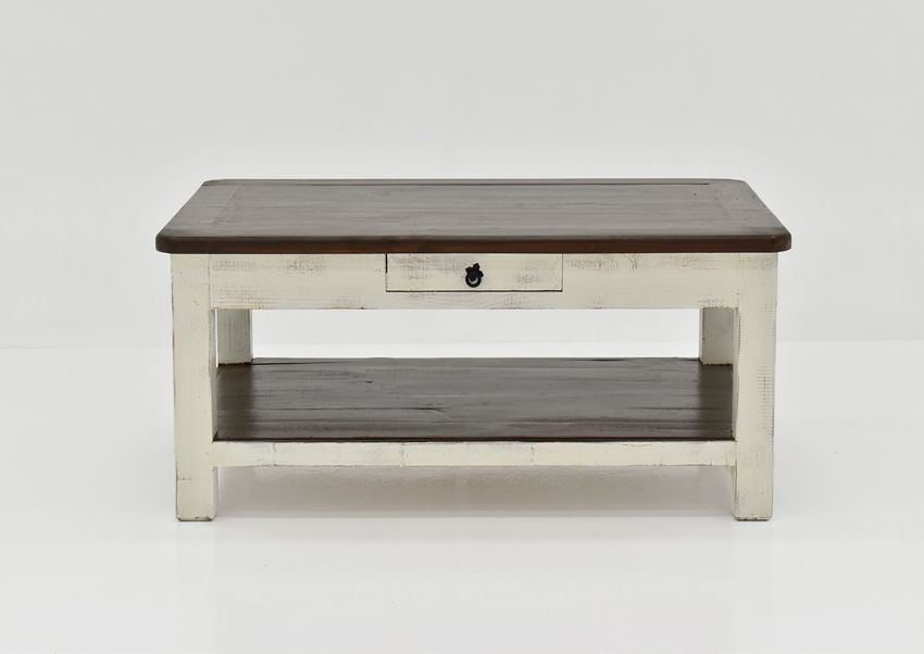 White and Brown Cottage Coffee Table by Vintage Showing the Front View | Home Furniture Plus Bedding