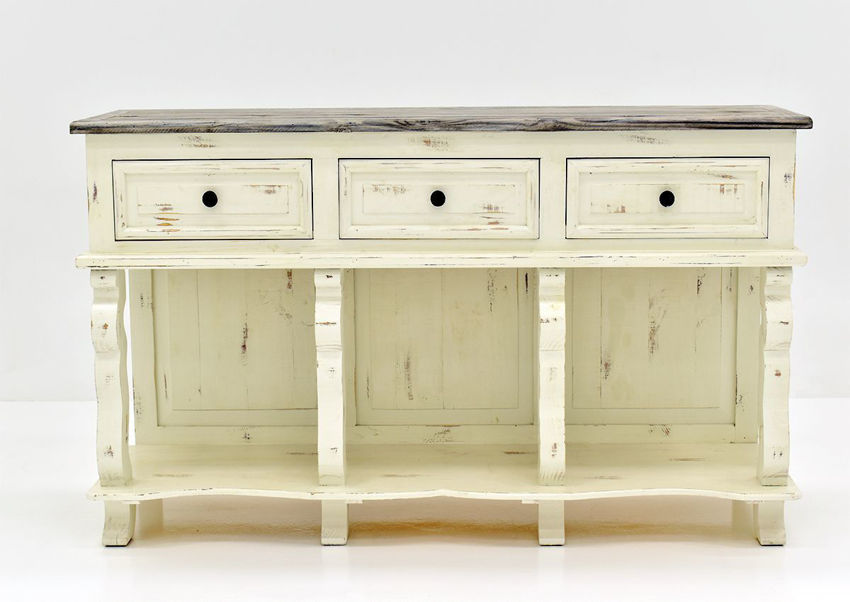 White and Gray Rio Carved Console Table by Vintage Furniture Showing the Front View | Home Furniture Plus Bedding