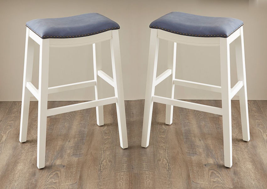 White and Blue Dexter 30 Inch Bar Height Barstool by Kith Furniture Showing the Room View, Made in the USA | Home Furniture Plus Bedding