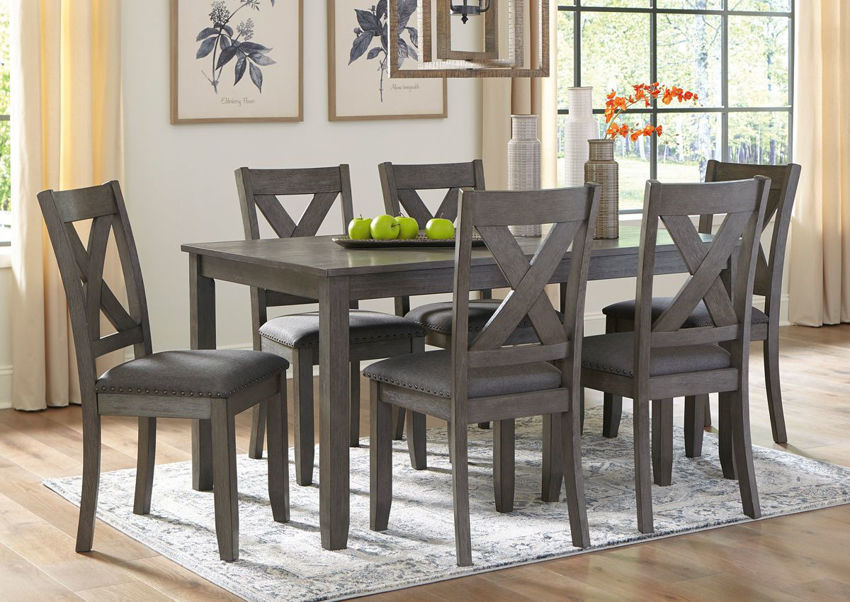 Gray Caitbrook 7 Piece Dining Set by Ashley Furniture Showing the Room View | Home Furniture Plus Bedding
