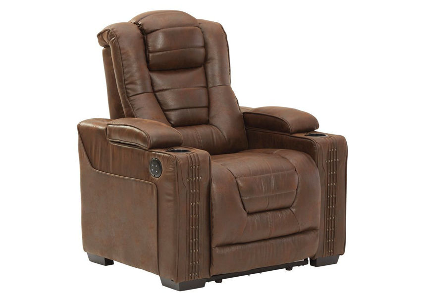 Brown Owners Box POWER Recliner by Ashley Showing the Angle View | Home Furniture Plus Bedding