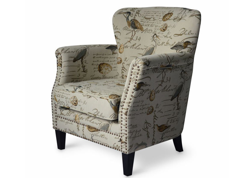 Off White Patterned Phoebe Accent Chair by Jofran Showing the Angle View | Home Furniture Plus Bedding