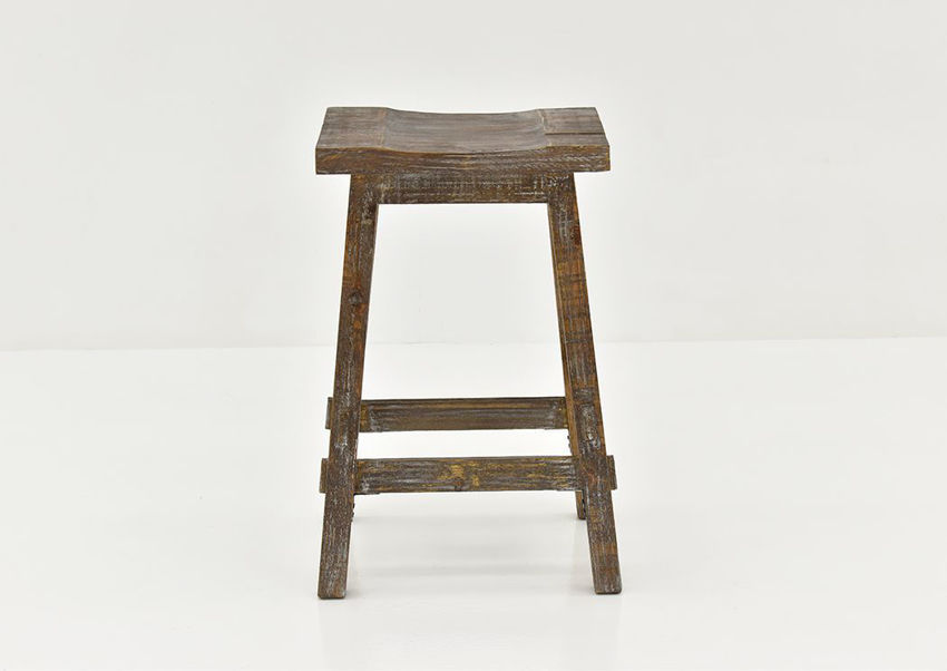 Barnwood Brown Trent 24 Inch Barstool by Vintage Showing the Front View | Home Furniture Plus Bedding