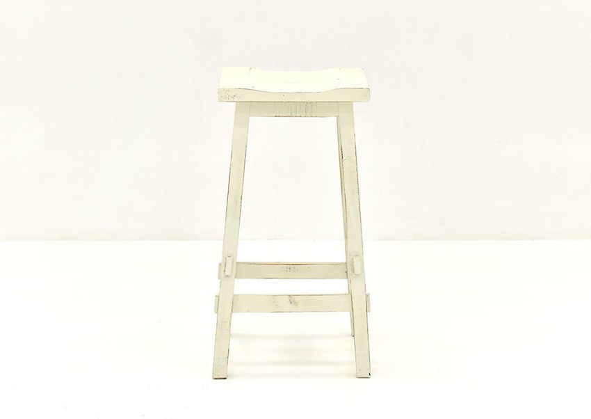 White Trent 30 Inch Barstool by Vintage Showing the Front View | Home Furniture Plus Bedding