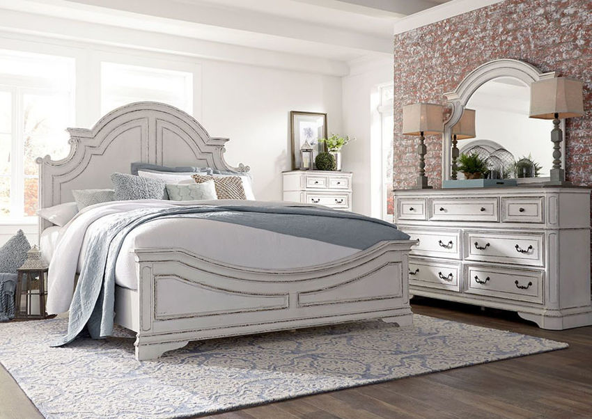 Antique White Magnolia Manor King Size Panel Bedroom Set by Liberty Furniture Showing the Room View | Home Furniture Plus Bedding