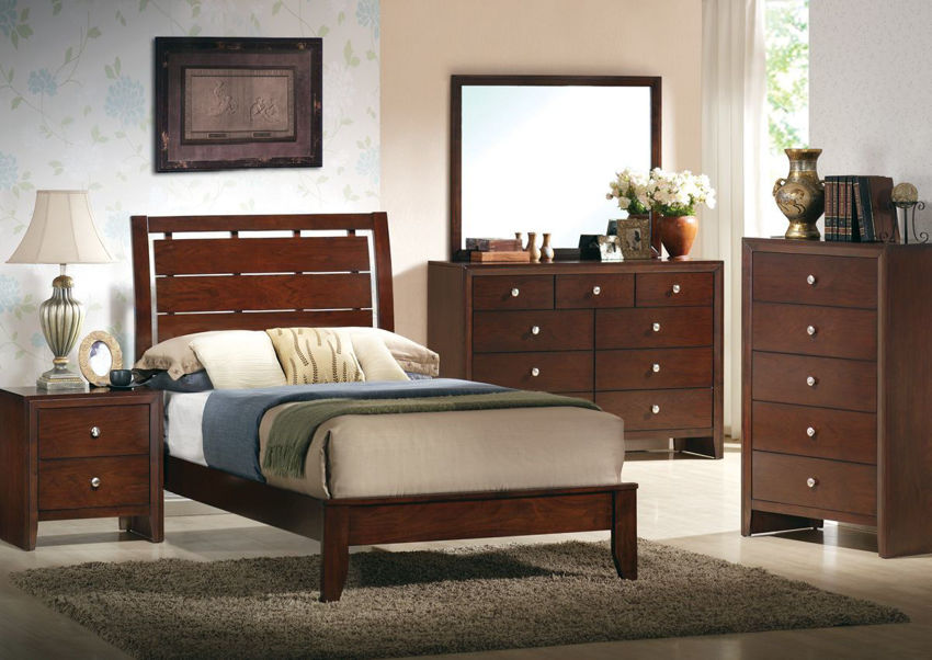 Brown Marshall Twin Size Bedroom Set Showing the Room View | Home Furniture Plus Bedding