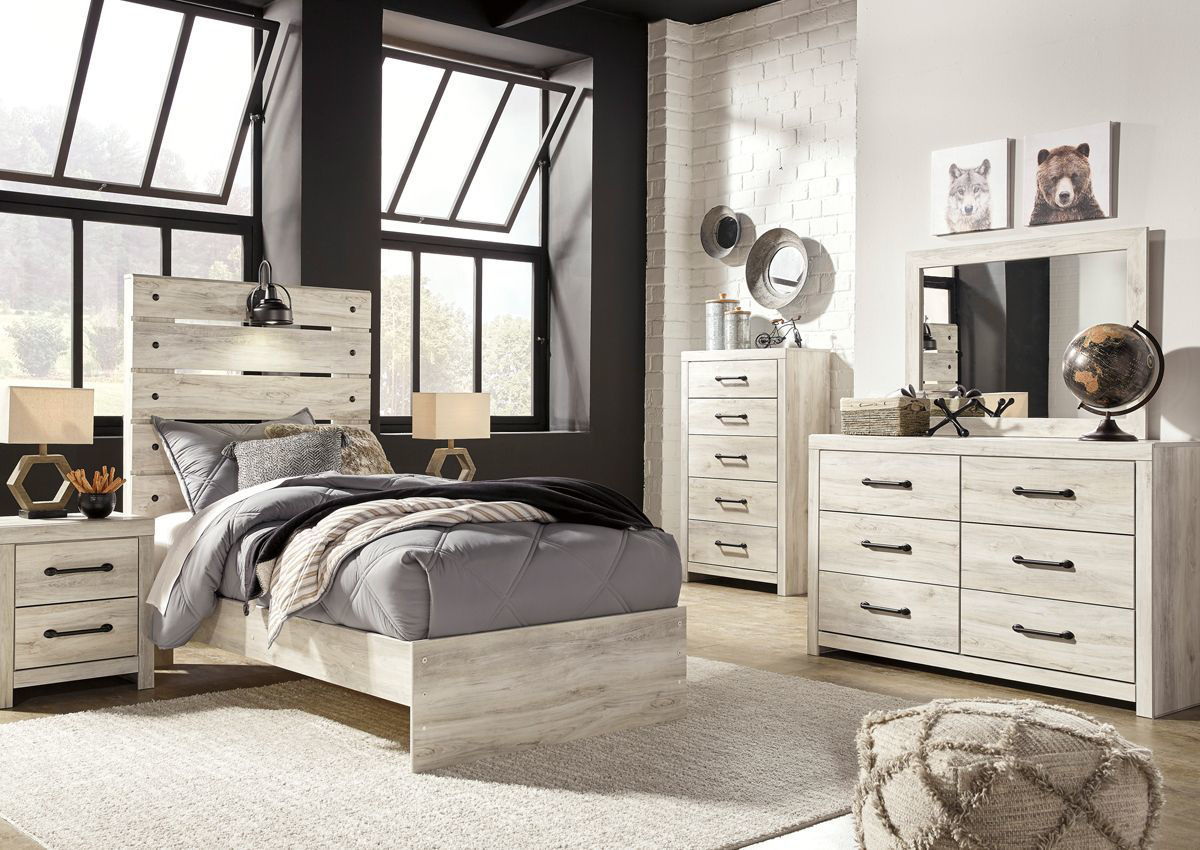 Cambeck Twin Size Bedroom Set White Home Furniture Plus Bedding