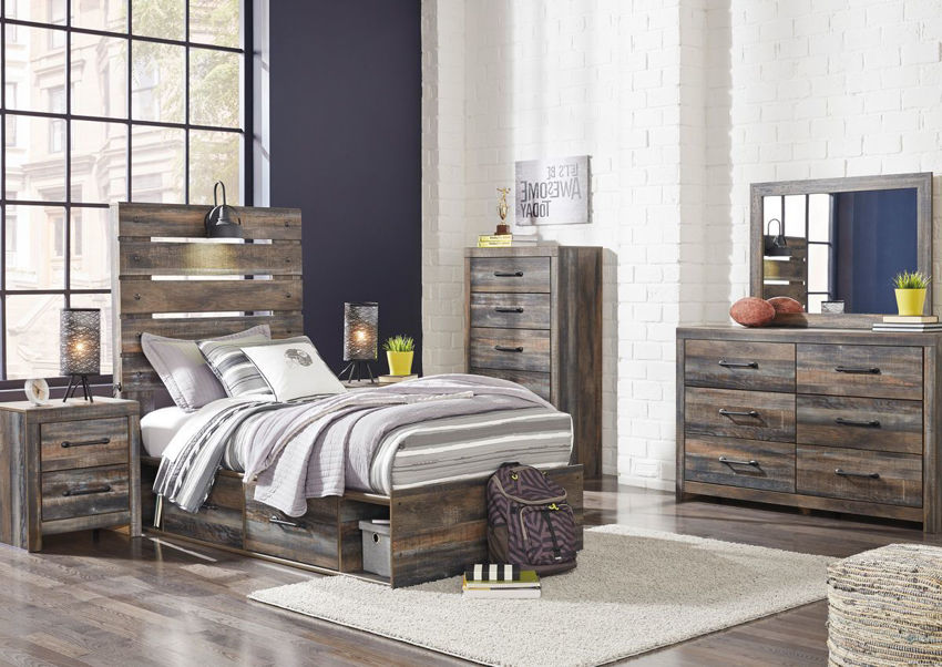 Picture of Drystan Twin Size Bedroom Set - Brown