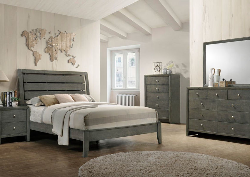 Gray Marshall Full Size Bedroom Set Showing the Room View | Home Furniture Plus Bedding